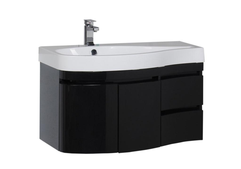 """Тумба с раковиной Aquanet Сопрано 95 L черная (2 дверцы 2 ящика) купить недорого в интернет магазине """"Ванна и Я"""""""