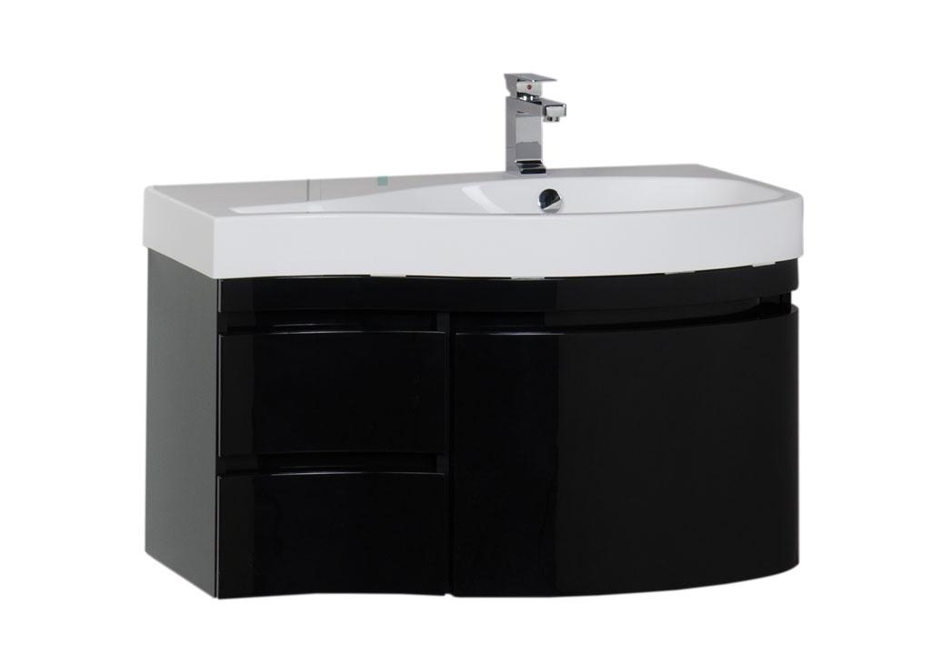 """Тумба с раковиной Aquanet Сопрано 95 R черная (3 ящика) купить недорого в интернет магазине """"Ванна и Я"""""""