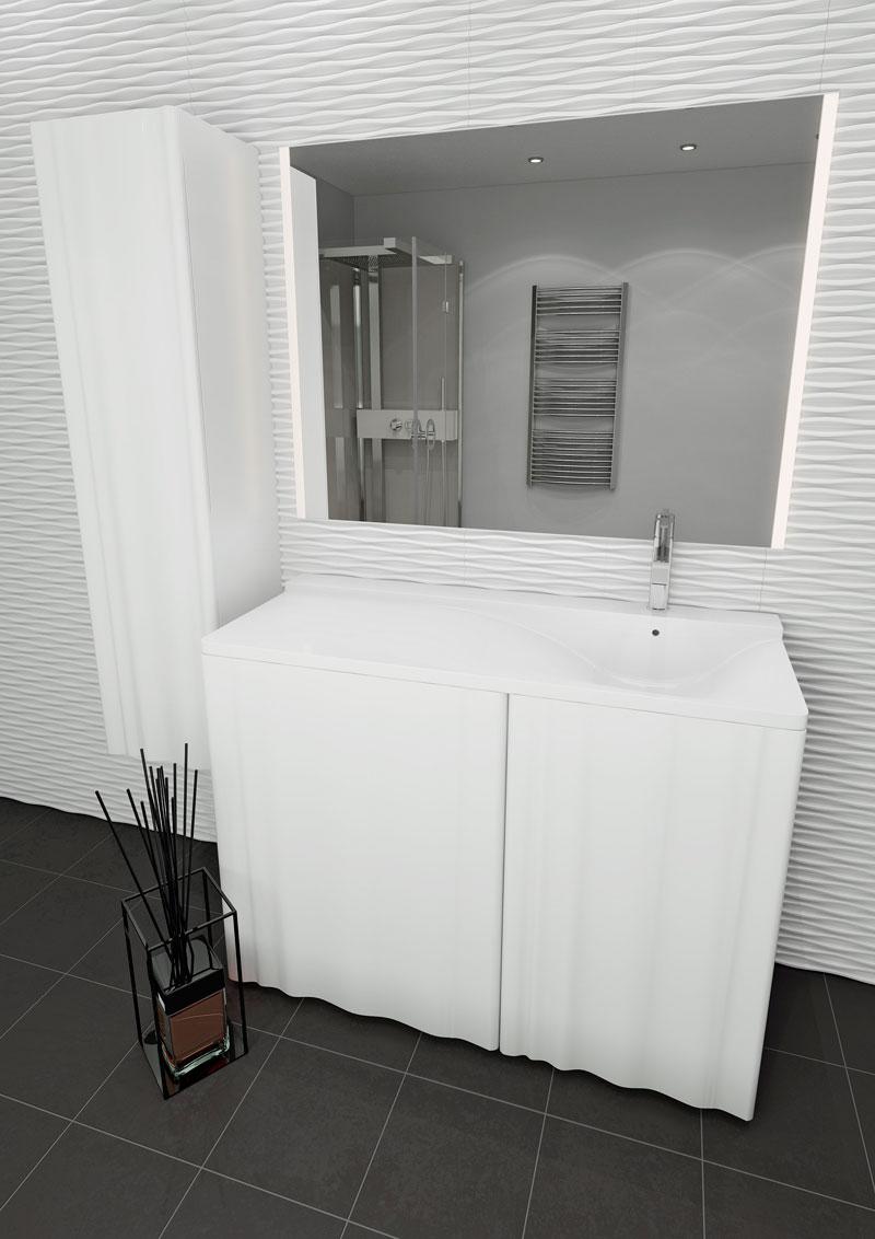 Мебель Lotos Алисия 120 см для ванной комнаты, напольная, под стиральную машину, с распашной дверцей