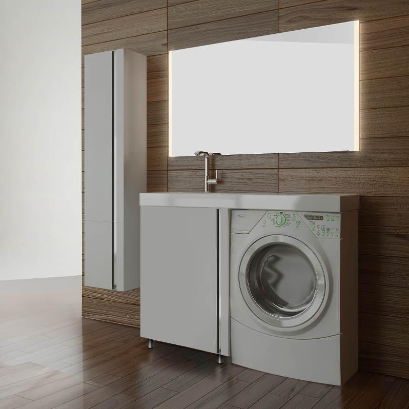 Мебель Lotos 120 см для ванной комнаты, напольная, под стиральную машину, с распашной дверцей